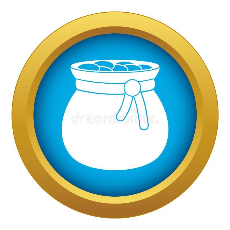 Bauschen Sie sich voll vom blauen lokalisierten Vektor der Goldmünze-Ikone vektor abbildung