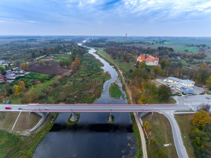 Bauska bridge, the river Misa. Lielupe. Aerial photo. Bauska bridge, the river Misa. Lielupe stock photos