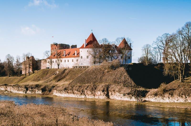 Bauska castle, Latvia. Bauska castl1e near the river, Latvia stock photos