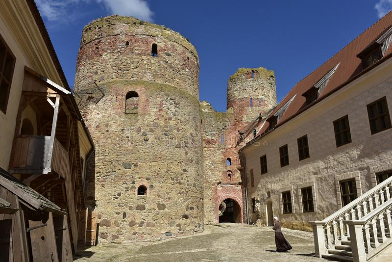 Courtyard of Bauska Castle, Latvia, North Europe. Bauska Castle (Latvian: Bauskas pils; German: Schloss Bauske) is a complex consisting of the ruins of stock photography