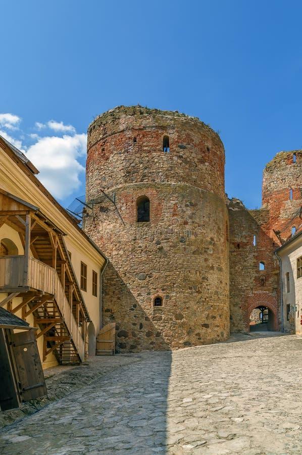 Bauska Castle, Latvia. Restored part of the Bauska castle, Lanvia. Castle courtyard stock photos