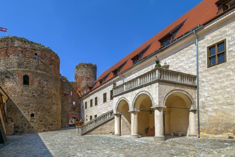 Bauska Castle, Latvia. Restored part of the Bauska castle, Lanvia. Castle courtyard royalty free stock photography