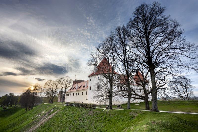 Bauska castle, Latvia. Bauska castle restored part during sunset time. HDR image stock photography