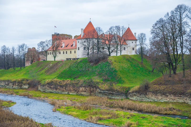 Bauska, old castle. Bauska, old castle, 2014, Latvia. Historic buildings in Bauska city, river Musa stock photos