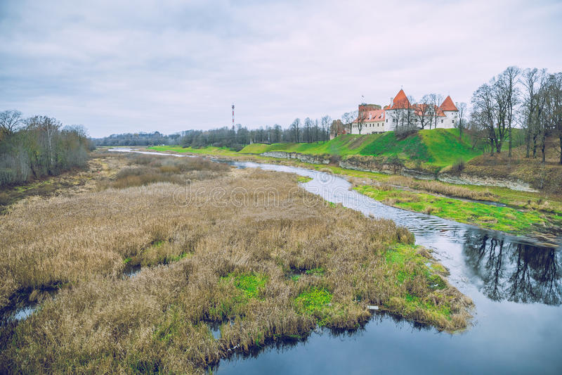 Bauska, old castle. Bauska, old castle in Latvia, 2014. View from bridge stock photos