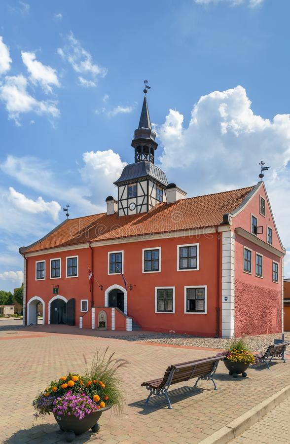 Bauska Town Hall, Lanvia. Bauska Town Hall is a recently rebuilt 17th century town hall building located in the middle of the Bauska Market Square, Latvia stock photography