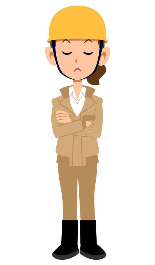 Baustelle-Arbeitskraftfrau, die mit den Armen gefaltet, beige Arbeitskleidung denkt vektor abbildung
