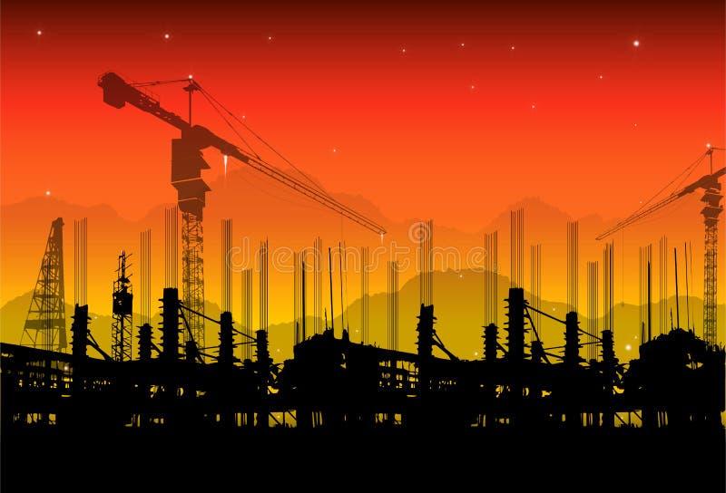 Baustelle auf Sonnenuntergang lizenzfreies stockbild