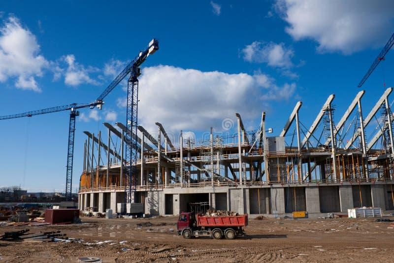 Baustelle der baltischen Arena stockbilder