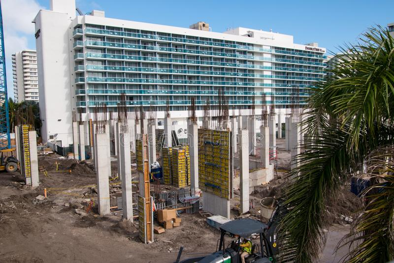 Baustelle in Hallandale Florida lizenzfreie stockbilder