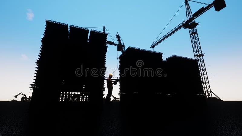 Baustelle mit Turmkranen stock abbildung