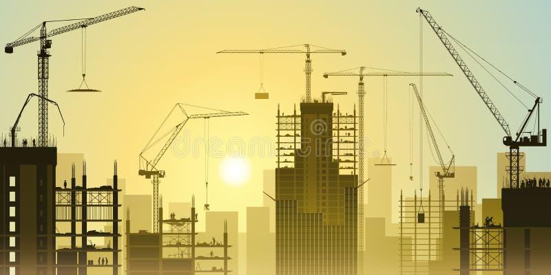 Baustelle mit Turmkranen lizenzfreie abbildung