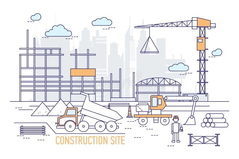 Baustelle oder Bereich mit konstruiertem Gebäude, Kran, Bagger, Kipplaster, tragender Schutzhelm des Ingenieurs gegen vektor abbildung