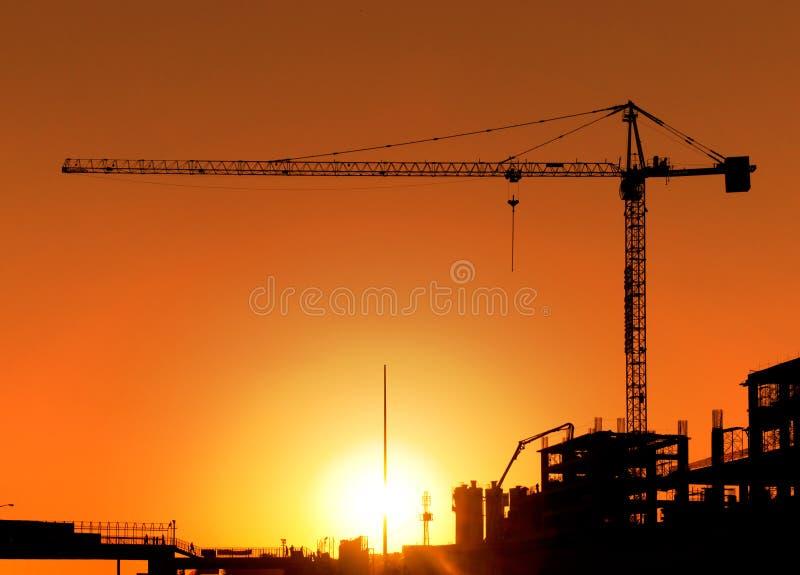 Baustelle und Kran stockbild