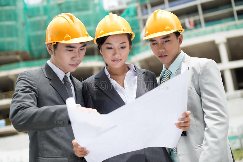 Baustelleteam stockfotos