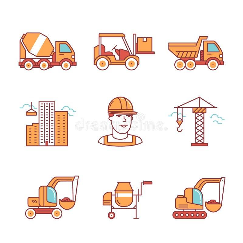 Baustelletechnik und -maschinerie lizenzfreie abbildung