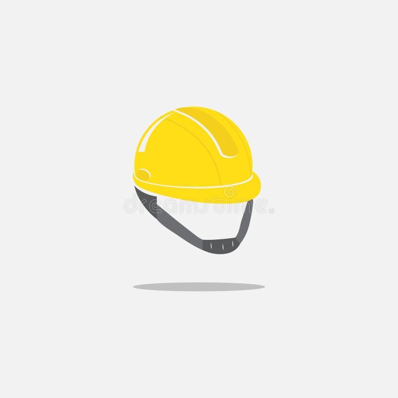 Bausturzhelmikone auf weißem Hintergrund Harter Hut der Sicherheit Vektor Abbildung stock abbildung