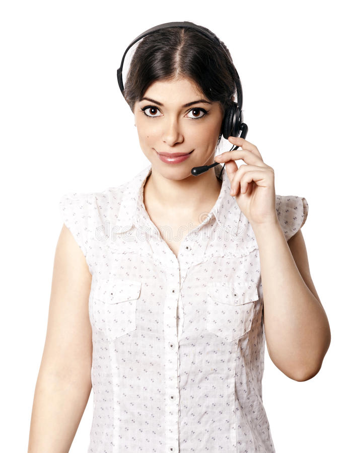 Isolated Call Center Woman Royalty Free Stock Photos