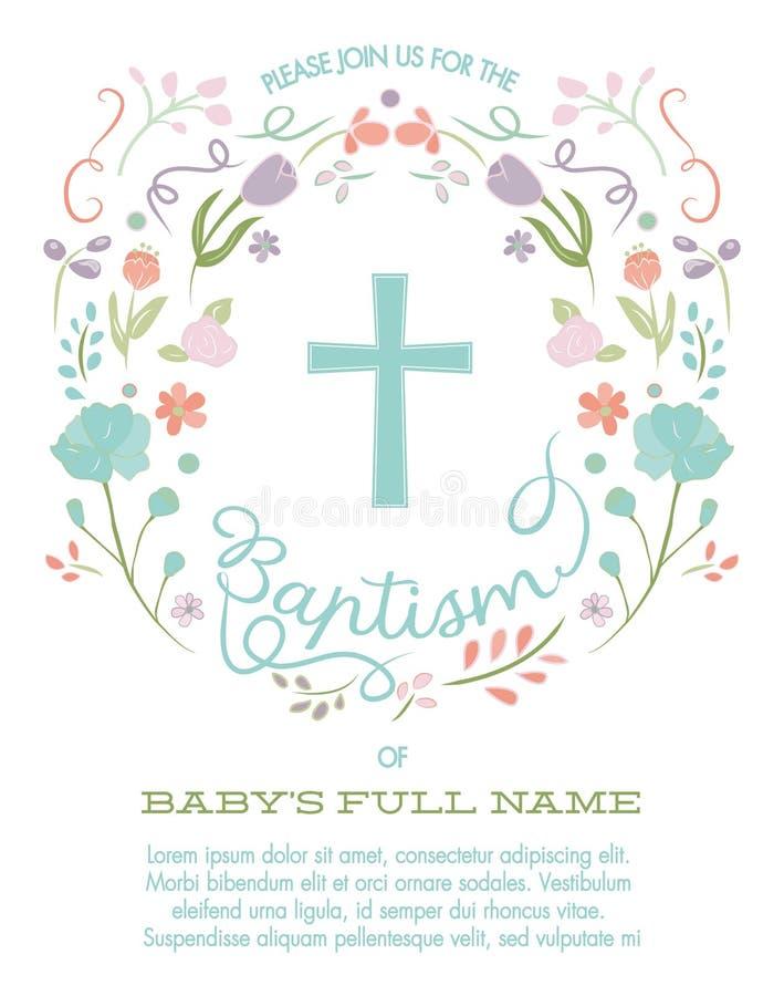 Bautismo, bautizo, primera plantilla de la invitación de la comunión santa con la frontera cruzada y floral ilustración del vector