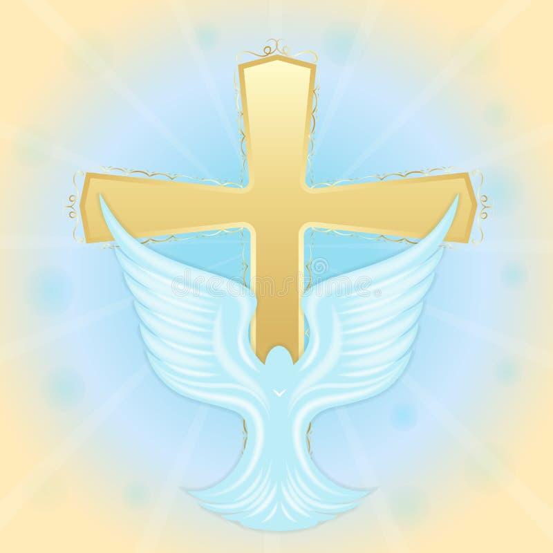 Bautismo de Jesús Paloma en el cielo contra la perspectiva de la cruz Símbolos bíblicos Tarjeta de felicitación de Pascua stock de ilustración