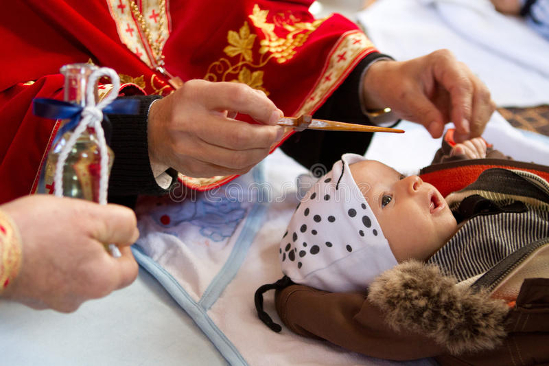 Bautizo del bebé imágenes de archivo libres de regalías
