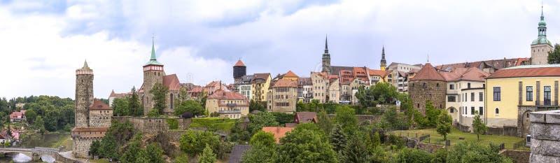 Bautzen är enöverkant stad i östliga Sachsen, Tyskland arkivfoton