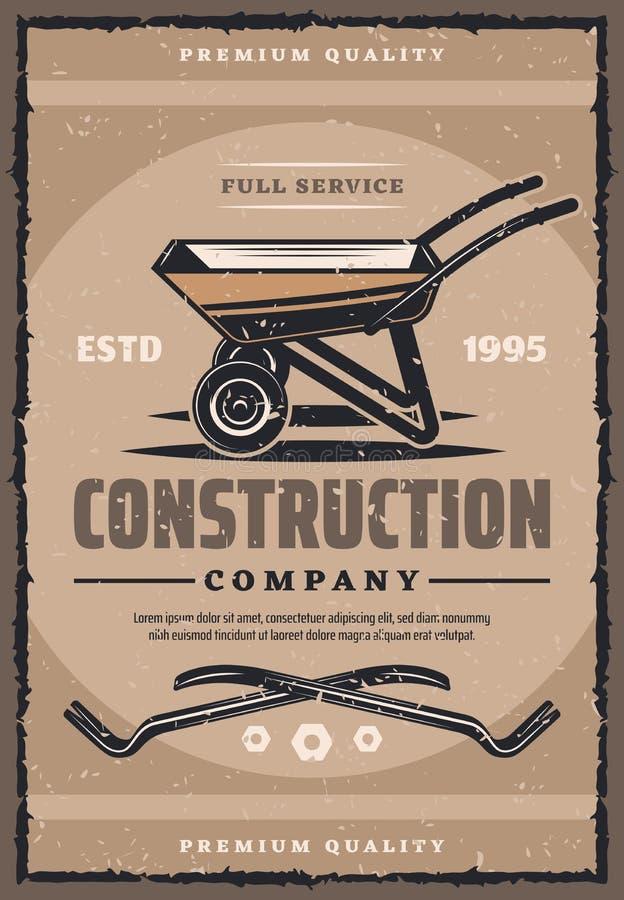 Bauunternehmen-Weinlesefahne mit Arbeitswerkzeug lizenzfreie abbildung