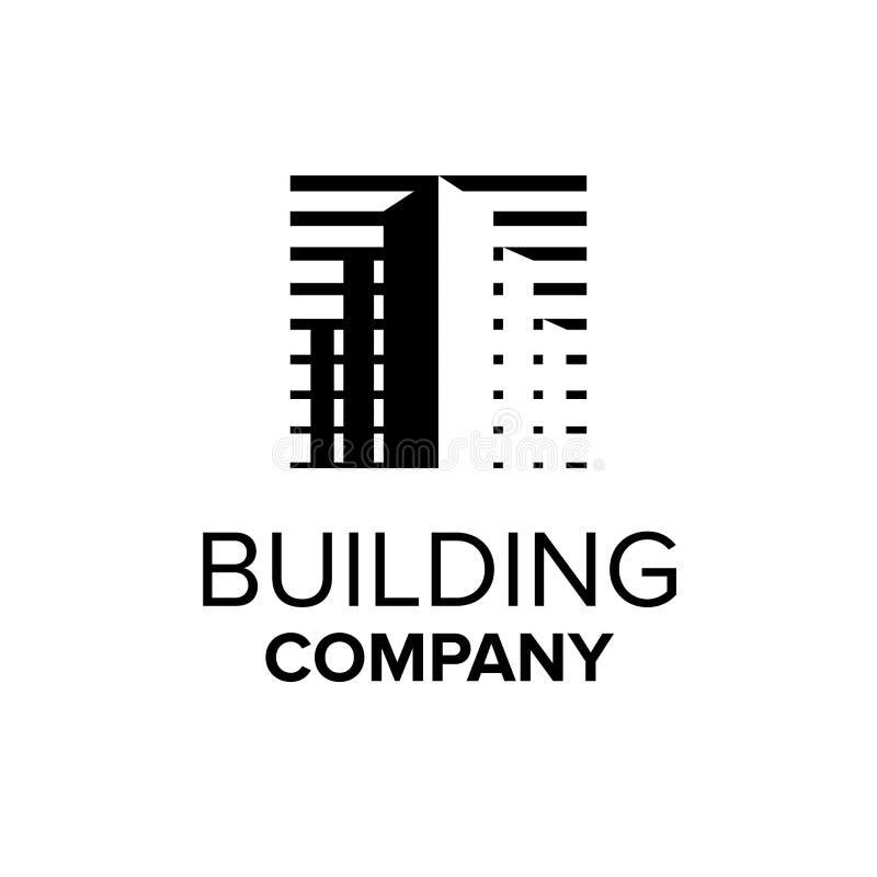 Bauunternehmenlogo Eigentumssymbol Abstrakte Gebäudeabbildung Schwarze Immobilienlogoschablone vektor abbildung