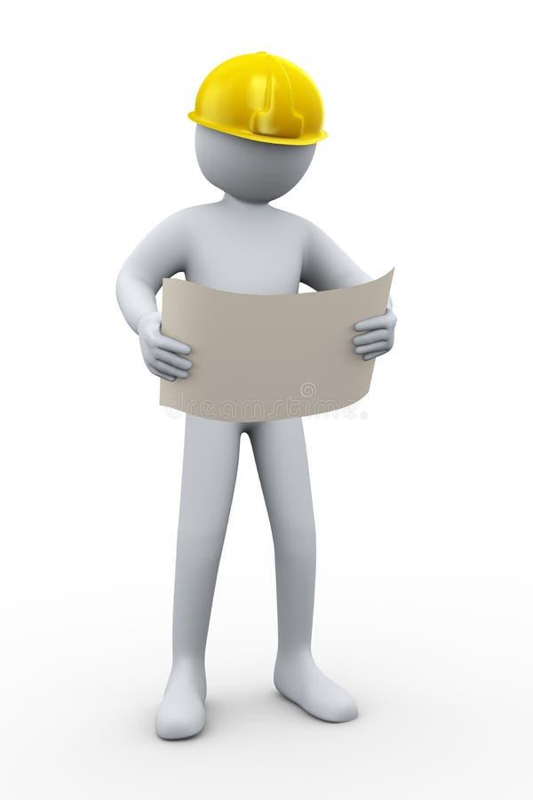 Bauunternehmer des Fachmannes 3d lizenzfreie abbildung