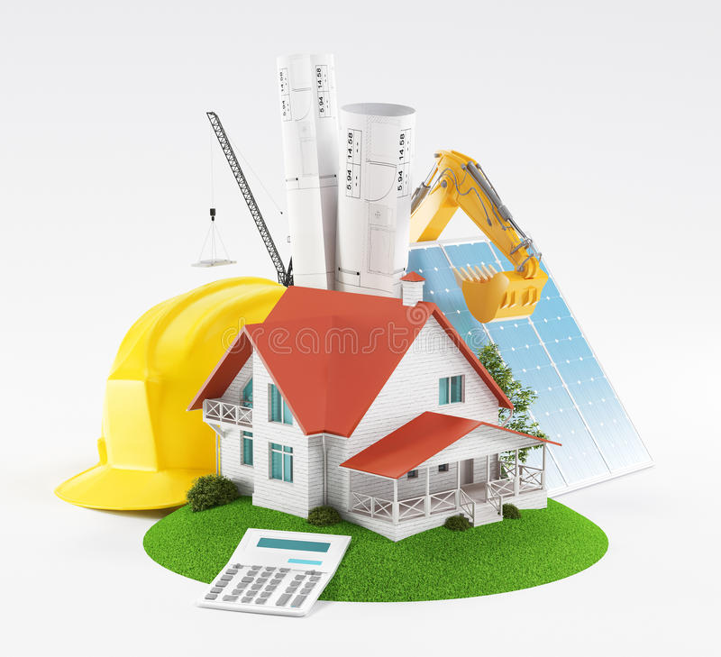 Bauvorhaben für neues Haus lizenzfreie abbildung