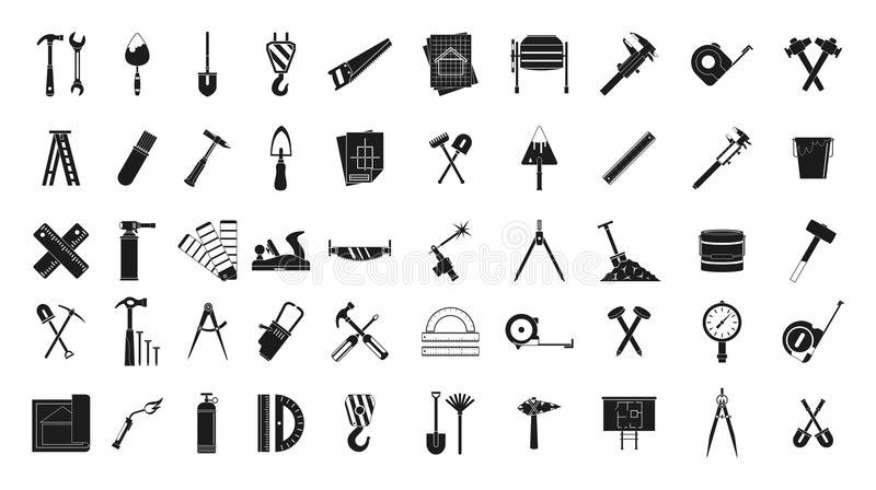 Bauwerkzeug-Ikonensatz, einfache Art vektor abbildung