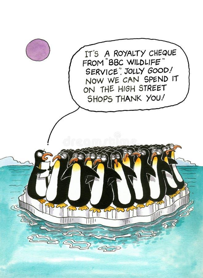 Bavaglio del fumetto circa i pinguini royalty illustrazione gratis