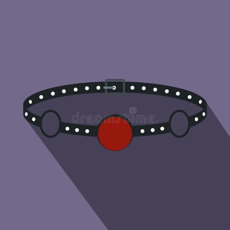 Bavaglio rosso con un'icona della cinghia, stile piano della palla illustrazione vettoriale