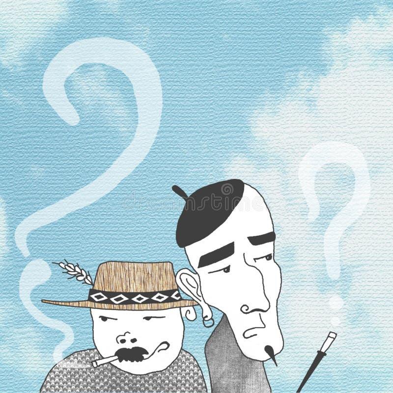 Bavardage de deux hommes illustration de vecteur