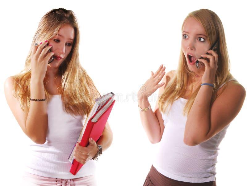 Bavardage de téléphone portable image libre de droits