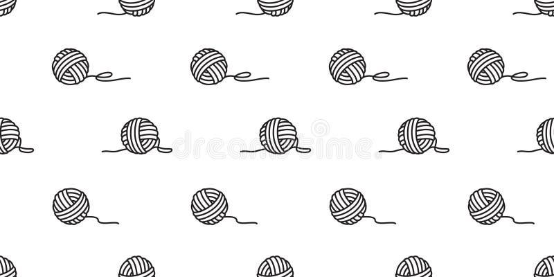 Bavardez les boules sans couture de vecteur de modèle de boule de l'écharpe de papier peint de fond d'aiguilles de tricotage de f illustration stock