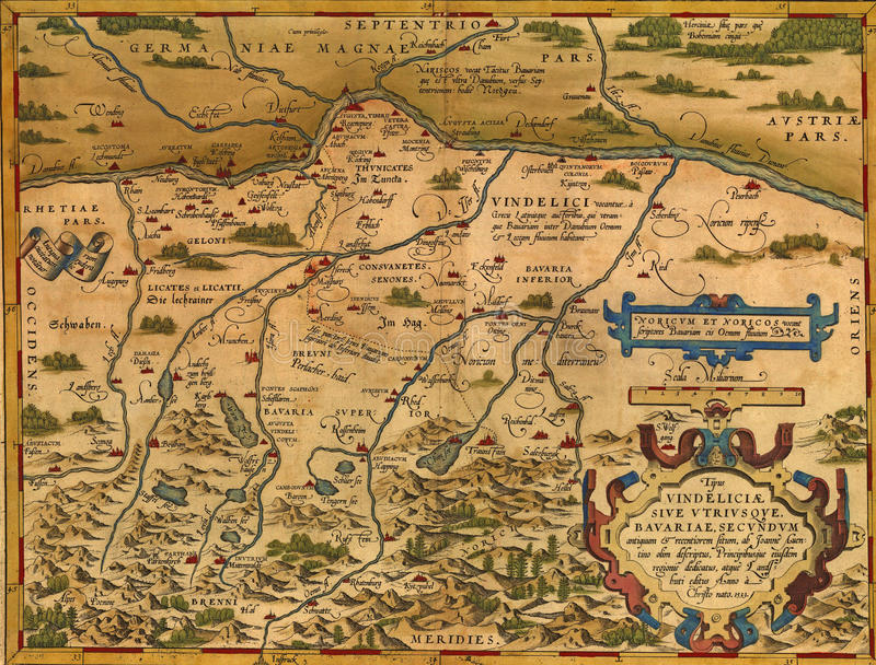 bavaria antykwarska mapa ilustracja wektor