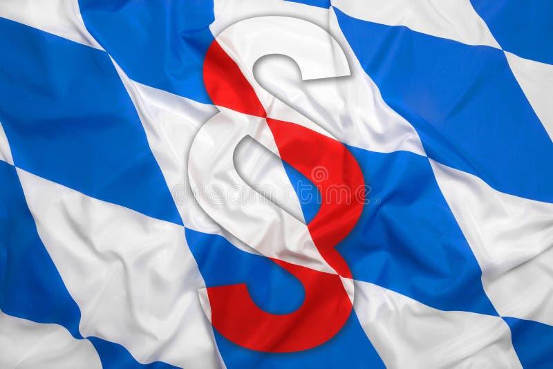 Bavaria flag with paragraph symbol stock photos