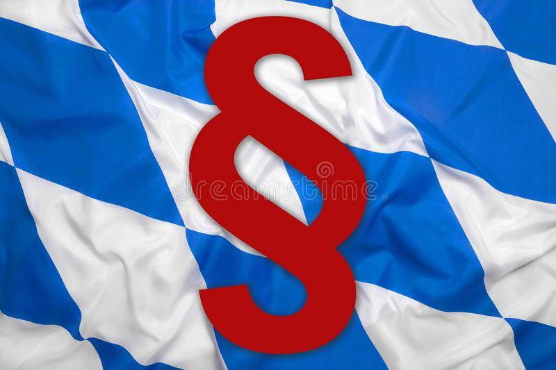 Bavaria flag with paragraph symbol stock image