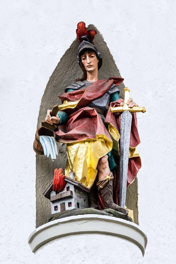 Bavaria, Germany. Sculptural figure of medieval knight. In village Oberammergau stock images