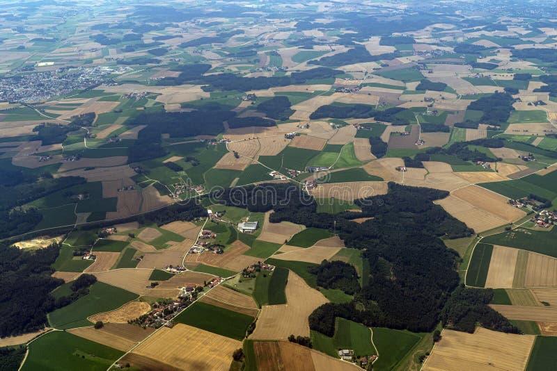 Bavaria Germany uprawiający ziemię odpowiada widoku z lotu ptaka krajobraz zdjęcia royalty free