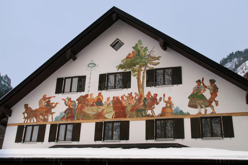 Bavaria house painting. Bavaria house decorated with traditional painting. Fussen, Germany royalty free stock photography