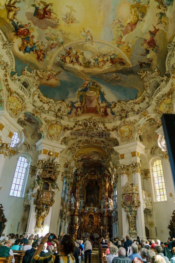 Bavaria Niemcy, Październik, - 15, 2017: Wnętrze pielgrzymka Chur zdjęcia royalty free