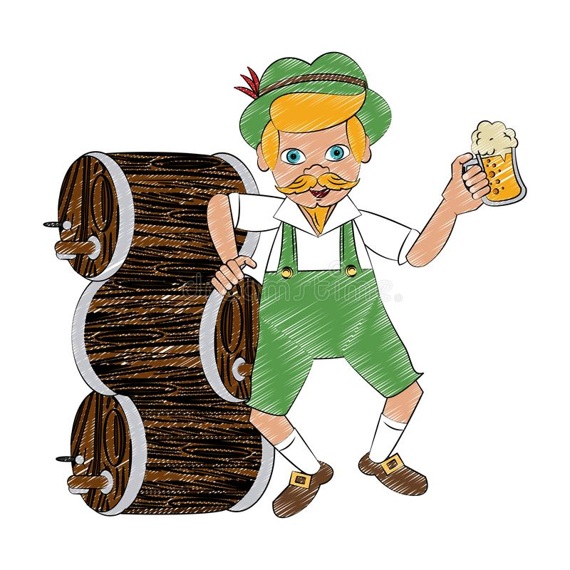 Bavarian with beer barrel and cup scribble. Bavarian with beer barrel and cup vector illustration graphic design royalty free illustration