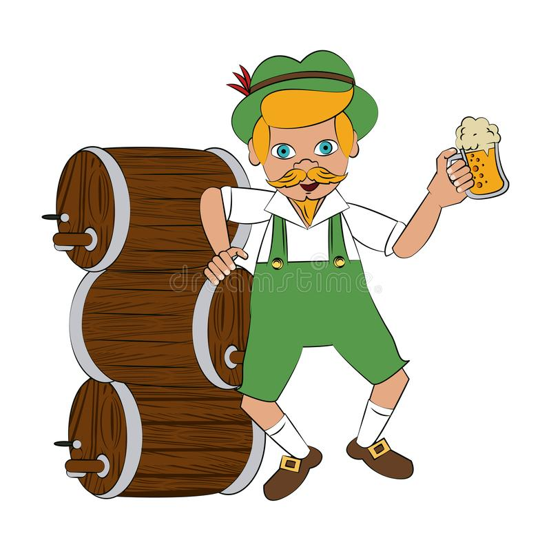 Bavarian with beer barrel and cup. Vector illustration graphic design vector illustration