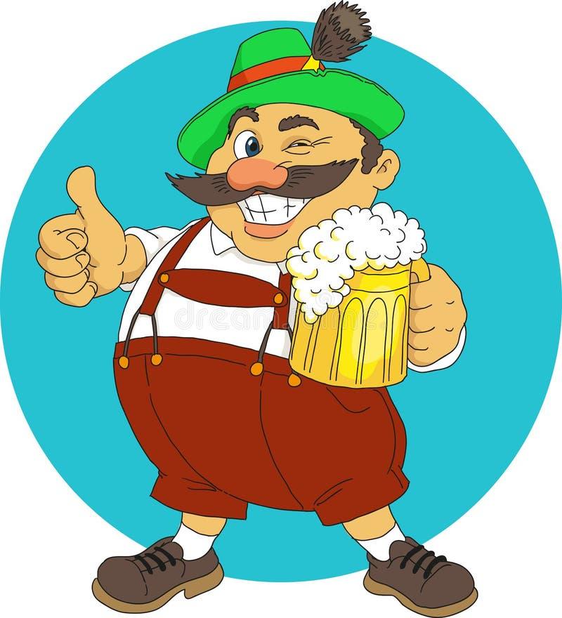 Bavarian. With beer. Cartoon. Vector stock illustration