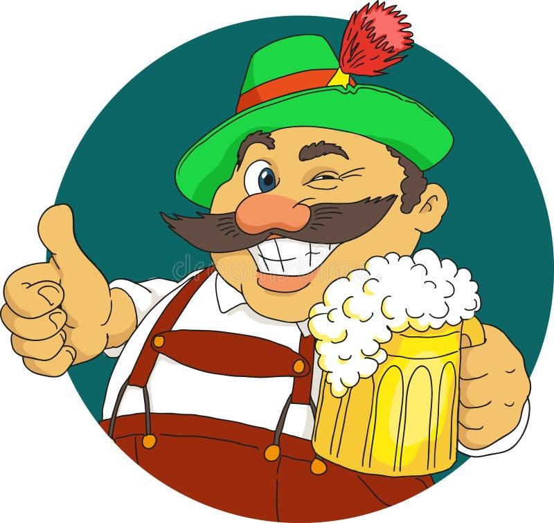 Bavarian. With beer. Cartoon. Vector royalty free illustration