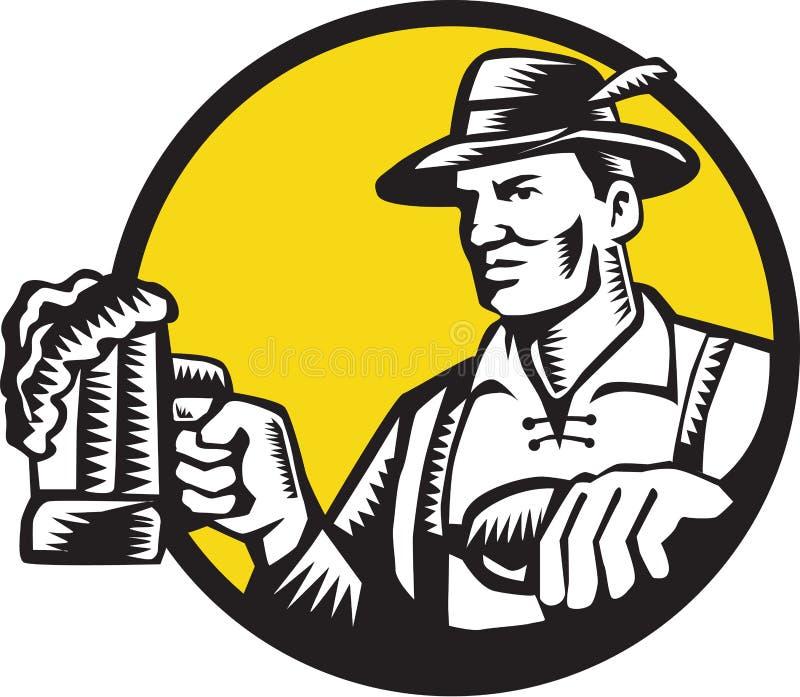 Bavarian Beer Drinker Mug Circle Woodcut. Illustration of a Bavarian beer drinker holding beer mug wearing lederhosen and German hat looking to the side set vector illustration