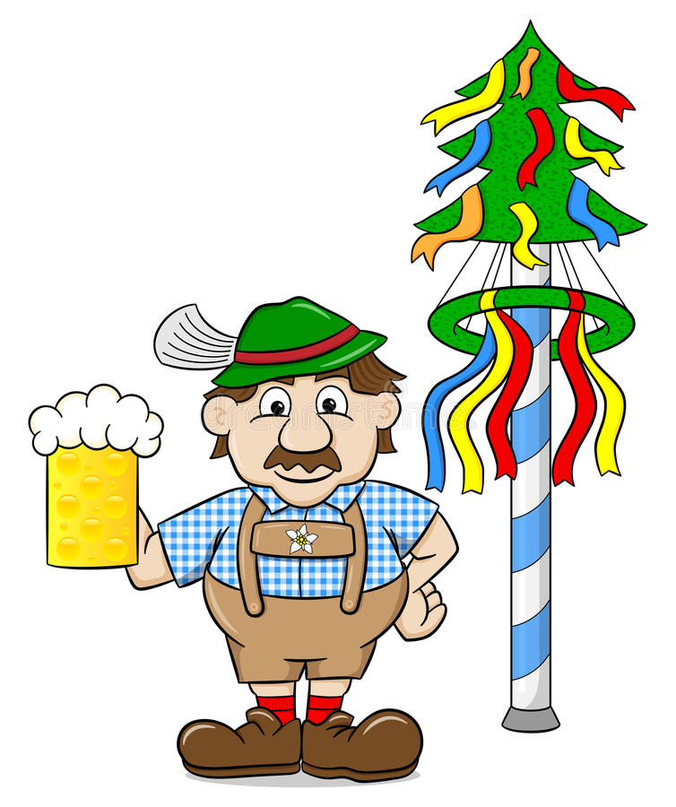 Bavarian with a beer and maypole. Vector illustration of a bavarian with a beer and maypole royalty free illustration