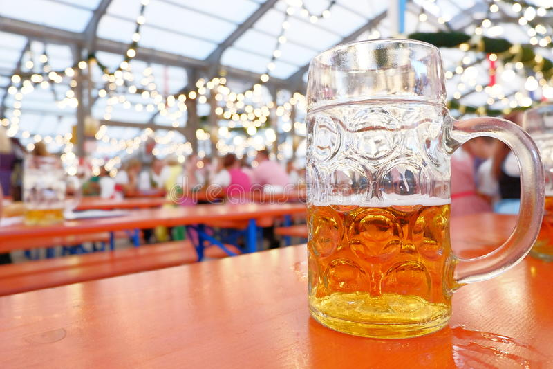 Bavarian beer mug. With copy space to the left royalty free stock photography